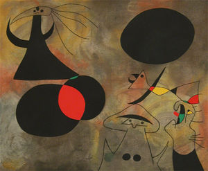 Joan Miró, Le Lever du soleil. Reproduction au pochoir du premier tableau des Constellations. Album édité par Pierre Matisse en 1959.