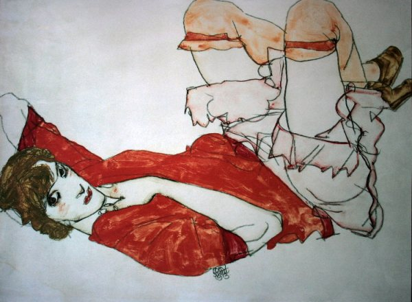 Schiele, wally-in-red-blouse-with-raised-knees-1913