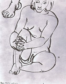 Henri Matisse, Woman nursing knee  A foot, pen and ink